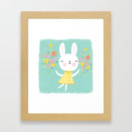 Dancing Garden Bunny Framed Art Print