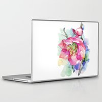 cherry blossom Laptop & iPad Skins featuring Cherry Blossom by A cup of grey tea