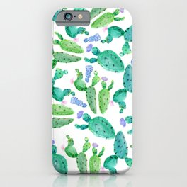 Watercolor hand painted violet green cactus floral iPhone Case