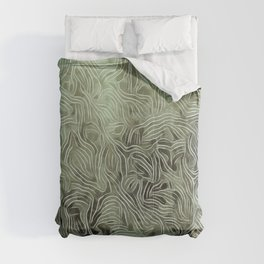 Abstract Botanical Swirls Celery Green Olive Comforters