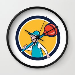 Plumber Carrying Plunger Walking Circle Cartoon Wall Clock