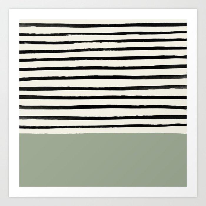 Sage Green x Stripes Kunstdrucke