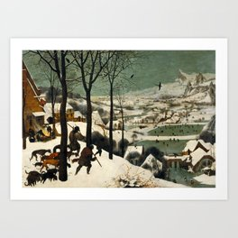 Hunters in the Snow (Winter) Art Print