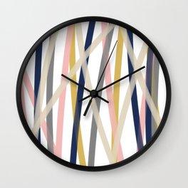 Ribbon Abstract in Mustard Yellow, Blush Pink, Navy Blue, Grey, Almond, and White Minimalist Modern Pattern Wall Clock