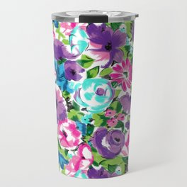Stylized Watercolor Floral in Bright Colors Travel Mug