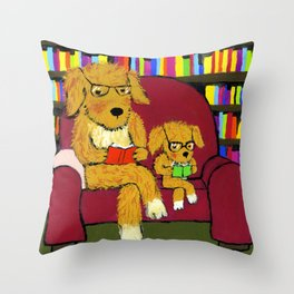 Reading dogs Throw Pillow