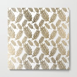 Elegant faux gold foil tropical leaves floral pattern Metal Print