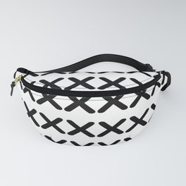 Minimal X Pattern Black and White Fanny Pack