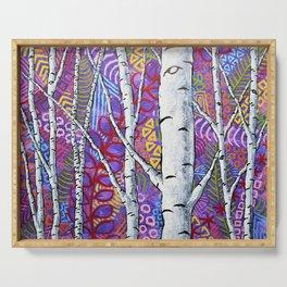 Sunset Sherbert Birch Forest by Mike Kraus-art birch aspen trees forests woods nature interior decor Serving Tray