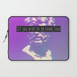 If you wish to be loved, love. Vaporwave Seneca statue Laptop Sleeve