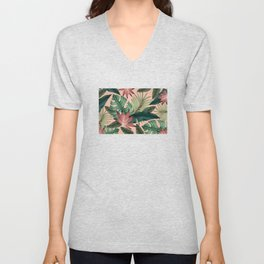 Tropical Monstera Swiss Cheese Plant Unisex V-Neck