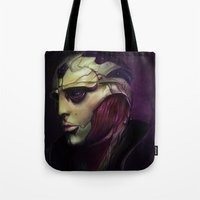 mass effect Tote Bags featuring Mass Effect: Thane Krios by Ruthie Hammerschlag