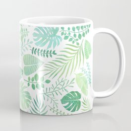 Green tropical leaves pattern Coffee Mug