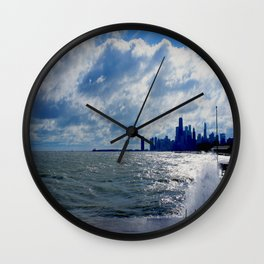 When Sandy Made Waves in Chicago #4 (Chicago Waves Collection) Wall Clock