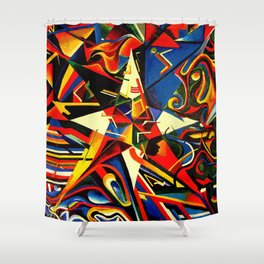 intermixing Color Star  Shower Curtain