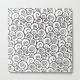 Modern Black and White Abstract Swirly Pattern Metal Print