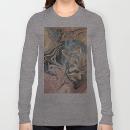 Liquid Gold and Rose Gold Marble Long Sleeve T-shirt