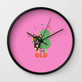 Eight Years 8th Birthday Party Cat T-Shirt D14m7 Wall Clock