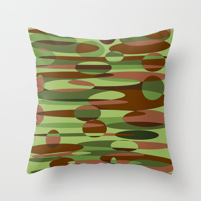 Trendy Green and Brown Camouflage Spheres Throw Pillow