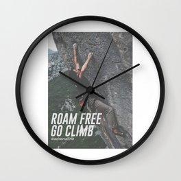 Roam Free Go Climb Rock Wall Adrenaline Wall Clock