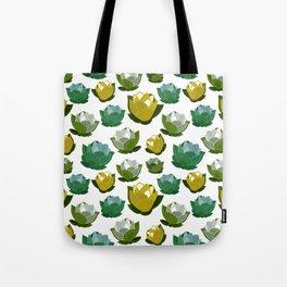Floating Lotus - Green,White & Yellow Palette Tote Bag