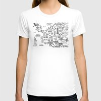 new york map T-shirts featuring New York City Map by Claire Lordon