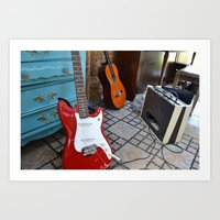 Cherry Guitar Art Print