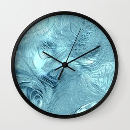 Blue Abstract Frosted Stained Glass Swirl Wall Clock