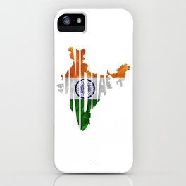 India World Map / Indian Typography Flag Map Art iPhone Case