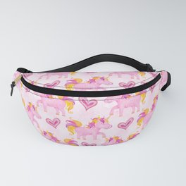 Watercolor Pink Unicorns Pattern Fanny Pack