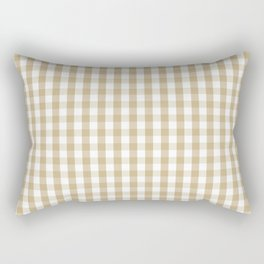 Christmas Gold and White Gingham Check Plaid Rectangular Pillow