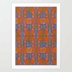 Nabu Tribal Orange Art Print