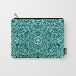 Turquoise Geometric Floral Mandala Carry-All Pouch