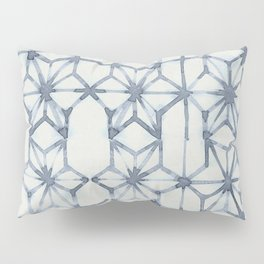 Simply Shibori Stars in Indigo Blue on Lunar Gray Pillow Sham