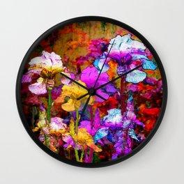 Yellow & Violet Purple Fantasy Iris  Painting Wall Clock