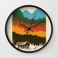 hunting Wall Clocks featuring Hunting Season by dan elijah g. fajardo