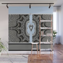FRACTALS, silver and blue, 3d look, modern abstract Wall Mural