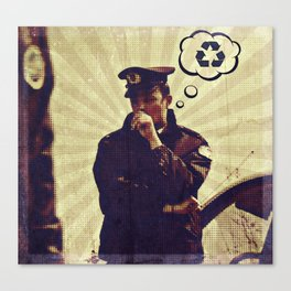 Police officer thinking about recycle Canvas Print