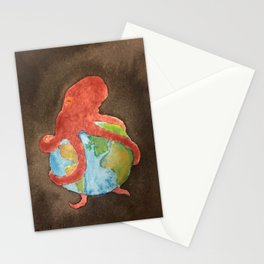 Octopus and Earth Stationery Cards
