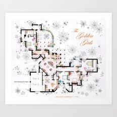 The Golden Girls House floorplan v.2 Art Print