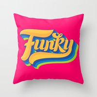 funky Throw Pillows featuring Funky by Roberlan Borges