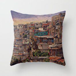 Guatemala City Slum Artistic Illustration Old and Chaotic Style Throw Pillow