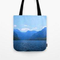ezra koenig Tote Bags featuring Koenigssee Lake with Alpes 2 by UtArt