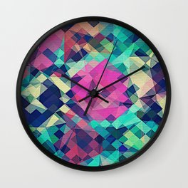 Fruity Rose - Fancy Colorful Abstraction Pattern Design (green pink blue) Wall Clock