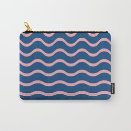 Blue and Pink Waves (Pantone Classic Blue) Carry-All Pouch