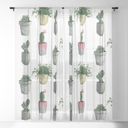House Plants Sheer Curtain
