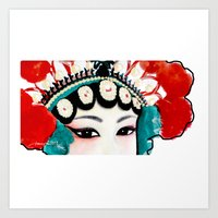 Chinese Opera Girl with Sexy Beautiful Eyes (water colour painting | colour pencils) Art Print