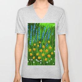 Lavender and Poppies Unisex V-Neck