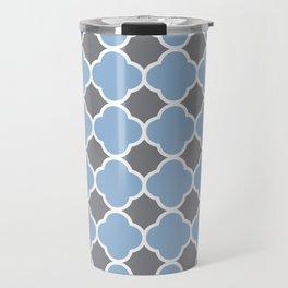 Grey and Airy Blue Quatrefoil Travel Mug