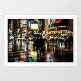 Love actually is all around - Rainy Night at Shibuyacrossing Art Print